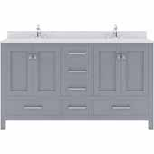 Caroline Avenue 60'' Double Bathroom Vanity Set in Grey, Dazzle White Quartz Top with Square Sinks