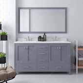 Caroline Avenue 60'' Double Bathroom Vanity Set in Grey, Dazzle White Quartz Top with Square Sinks, Polished Chrome Faucets, Mirror Included