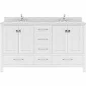 Caroline Avenue 60'' Double Bathroom Vanity Set in White, Dazzle White Quartz Top with Square Sinks