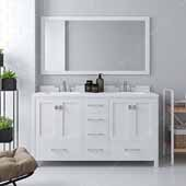 Caroline Avenue 60'' Double Bathroom Vanity Set in White, Dazzle White Quartz Top with Square Sinks, Brushed Nickel Faucets, Mirror Included