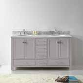 Caroline Avenue 60'' Double Bathroom Vanity Set in Cashmere Grey, Italian Carrara White Marble Top with Round Sinks, Brushed Nickel Faucets