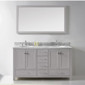 Caroline Avenue 60'' Double Bathroom Vanity Set in Cashmere Grey, Italian Carrara White Marble Top with Round Sinks, Brushed Nickel Faucets, Mirror Included