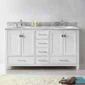 Caroline Avenue 60'' Double Bathroom Vanity Set in White, Italian Carrara White Marble Top with Round Sinks