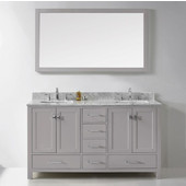 Caroline Avenue 60'' Double Bathroom Vanity Set in Cashmere Grey, Italian Carrara White Marble Top with Square Sinks, Polished Chrome Faucets, Mirror Included
