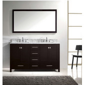 Caroline Avenue 60'' Double Bathroom Vanity Set in Espresso, Italian Carrara White Marble Top with Square Sinks, Available with Optional Faucets, Mirror Included