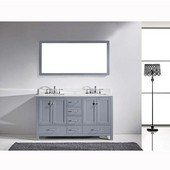 Caroline Avenue 60'' Double Bathroom Vanity Set in Grey, Italian Carrara White Marble Top with Round Sinks, Polished Chrome Faucets, Mirror Included