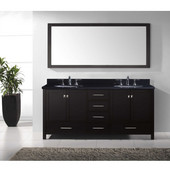 Caroline Avenue 72'' Double Bathroom Vanity Set in Espresso, Black Galaxy Granite Top with Round Sinks, Mirror Included