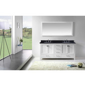 Caroline Avenue 72'' Double Bathroom Vanity Set in White, Black Galaxy Granite Top with Round Sinks, Mirror Included