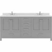 Caroline Avenue 72'' Double Bathroom Vanity Set in Cashmere Grey, Dazzle White Quartz Top with Round Sinks