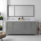 Caroline Avenue 72'' Double Bathroom Vanity Set in Cashmere Grey, Dazzle White Quartz Top with Round Sinks, Brushed Nickel Faucets, Mirror Included