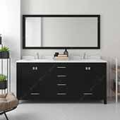 Caroline Avenue 72'' Double Bathroom Vanity Set in Espresso, Dazzle White Quartz Top with Round Sinks, Brushed Nickel Faucets, Mirror Included