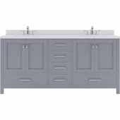 Caroline Avenue 72'' Double Bathroom Vanity Set in Grey, Dazzle White Quartz Top with Round Sinks