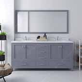 Caroline Avenue 72'' Double Bathroom Vanity Set in Grey, Dazzle White Quartz Top with Round Sinks, Brushed Nickel Faucets, Mirror Included