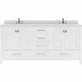 Caroline Avenue 72'' Double Bathroom Vanity Set in White, Dazzle White Quartz Top with Round Sinks