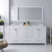 Caroline Avenue 72'' Double Bathroom Vanity Set in White, Dazzle White Quartz Top with Round Sinks, Brushed Nickel Faucets, Mirror Included