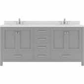Caroline Avenue 72'' Double Bathroom Vanity Set in Cashmere Grey, Dazzle White Quartz Top with Square Sinks