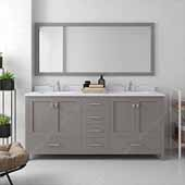 Caroline Avenue 72'' Double Bathroom Vanity Set in Cashmere Grey, Dazzle White Quartz Top with Square Sinks, Brushed Nickel Faucets, Mirror Included