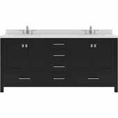 Caroline Avenue 72'' Double Bathroom Vanity Set in Espresso, Dazzle White Quartz Top with Square Sinks