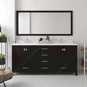 Caroline Avenue 72'' Double Bathroom Vanity Set in Espresso, Dazzle White Quartz Top with Square Sinks, Mirror Included