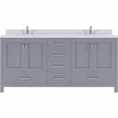 Caroline Avenue 72'' Double Bathroom Vanity Set in Grey, Dazzle White Quartz Top with Square Sinks