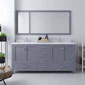 Caroline Avenue 72'' Double Bathroom Vanity Set in Grey, Dazzle White Quartz Top with Square Sinks, Polished Chrome Faucets, Mirror Included