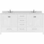 Caroline Avenue 72'' Double Bathroom Vanity Set in White, Dazzle White Quartz Top with Square Sinks