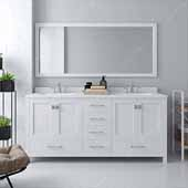 Caroline Avenue 72'' Double Bathroom Vanity Set in White, Dazzle White Quartz Top with Square Sinks, Mirror Included