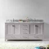 Caroline Avenue 72'' Double Bathroom Vanity Set in Cashmere Grey, Italian Carrara White Marble Top with Round Sinks
