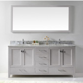 Caroline Avenue 72'' Double Bathroom Vanity Set in Cashmere Grey, Italian Carrara White Marble Top with Round Sinks, Polished Chrome Faucets, Mirror Included