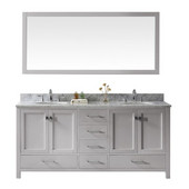 Caroline Avenue 72'' Double Bathroom Vanity Set in Cashmere Grey, Italian Carrara White Marble Top with Round Sinks, Mirror Included