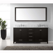 Caroline Avenue 72'' Double Bathroom Vanity Set in Espresso, Italian Carrara White Marble Top with Round Sinks, Available with Optional Faucets, Mirror Included