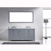 Caroline Avenue 72'' Double Bathroom Vanity Set in Grey, Italian Carrara White Marble Top with Round Sinks, Polished Chrome Faucets, Mirror Included