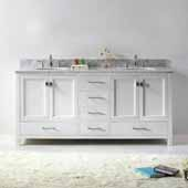 Caroline Avenue 72'' Double Bathroom Vanity Set in White, Italian Carrara White Marble Top with Round Sinks