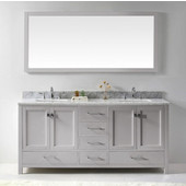 Caroline Avenue 72'' Double Bathroom Vanity Set in Cashmere Grey, Italian Carrara White Marble Top with Square Sinks, Polished Chrome Faucets, Mirror Included