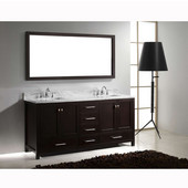 Caroline Avenue 72'' Double Bathroom Vanity Set in Espresso, Italian Carrara White Marble Top with Square Sinks, Available with Optional Faucets, Mirror Included