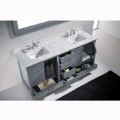 Caroline Avenue 72'' Double Bathroom Vanity Set in Grey, Italian Carrara White Marble Top with Square Sinks, Polished Chrome Faucets, Mirror Included