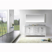 Caroline Avenue 72'' Double Bathroom Vanity Set in White, Italian Carrara White Marble Top with Square Sinks, Available with Optional Faucets, Mirror Included