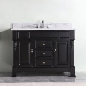 Huntshire 48'' Single Bathroom Vanity Set in Espresso, Italian Carrara White Marble Top with Round Sink