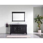 Huntshire 60'' Single Bathroom Vanity Set in Dark Walnut, Italian Carrara White Marble Top with Round Sink, Mirror Included