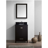 Caroline Avenue 24'' Single Bathroom Vanity Set in Espresso, Black Galaxy Granite Top with Round Sink, Brushed Nickel Faucet, Mirror Included
