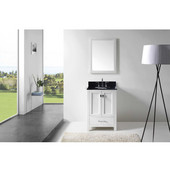 Caroline Avenue 24'' Single Bathroom Vanity Set in White, Black Galaxy Granite Top with Round Sink, Polished Chrome Faucet, Mirror Included