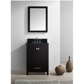Caroline Avenue 24'' Single Bathroom Vanity Set in Espresso, Black Galaxy Granite Top with Square Sink, Brushed Nickel Faucet, Mirror Included