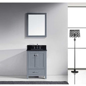 Caroline Avenue 24'' Single Bathroom Vanity Set in Grey, Black Galaxy Granite Top with Square Sink, Polished Chrome Faucet, Mirror Included