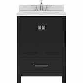 Caroline Avenue 24'' Single Bathroom Vanity Set in Espresso, Dazzle White Quartz Top with Round Sink