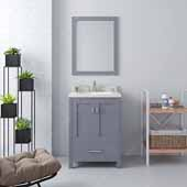Caroline Avenue 24'' Single Bathroom Vanity Set in Grey, Dazzle White Quartz Top with Round Sink, Polished Chrome Faucets, Mirror Included