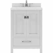 Caroline Avenue 24'' Single Bathroom Vanity Set in White, Dazzle White Quartz Top with Round Sink