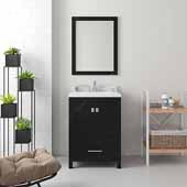 Caroline Avenue 24'' Single Bathroom Vanity Set in Espresso, Dazzle White Quartz Top with Square Sink, Mirror Included