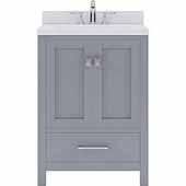 Caroline Avenue 24'' Single Bathroom Vanity Set in Grey, Dazzle White Quartz Top with Square Sink