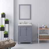 Caroline Avenue 24'' Single Bathroom Vanity Set in Grey, Dazzle White Quartz Top with Square Sink, Brushed Nickel Faucets, Mirror Included