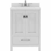 Caroline Avenue 24'' Single Bathroom Vanity Set in White, Dazzle White Quartz Top with Square Sink